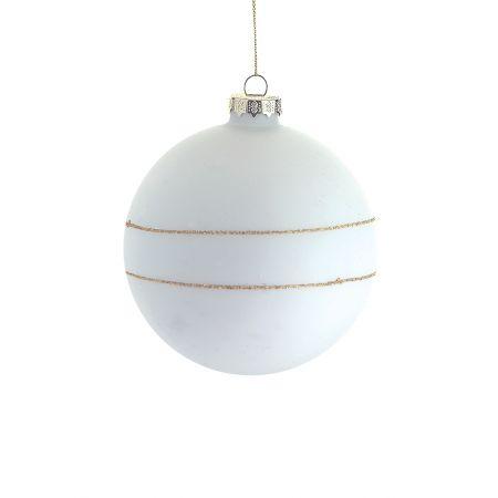 Χριστουγεννιάτικη μπάλα γυάλινη Λευκή-Χρυσή 10cm