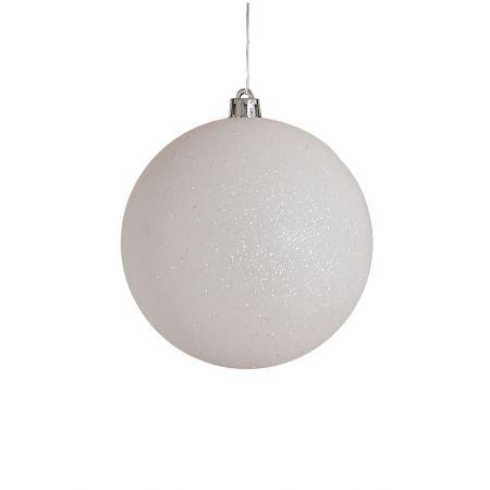 Χριστουγεννιάτικη μπάλα πλαστική Λευκή 10cm