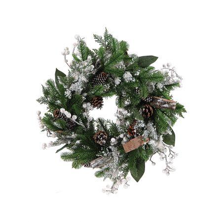 Χριστουγεννιάτικο στολισμένο στεφάνι με berries 50cm