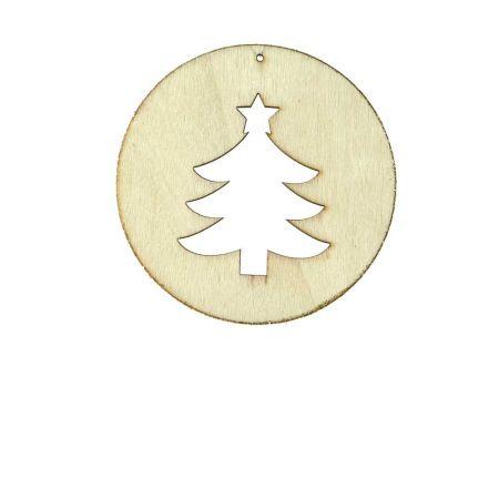 Χριστουγεννιάτικο Ξύλινο στολίδι ροδέλα με Δέντρο , 8x8cm