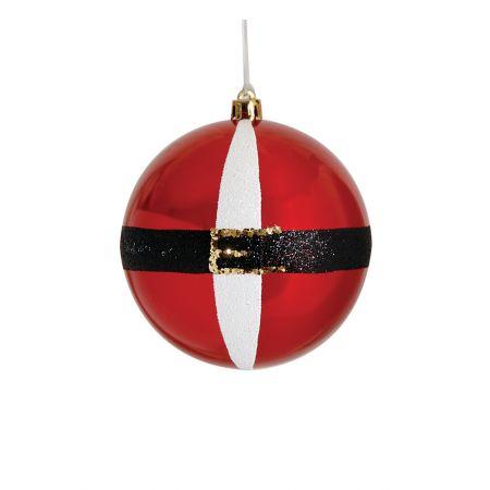 Χριστουγεννιάτικη μπάλα πλαστική Κόκκινη γυαλιστερή 10cm