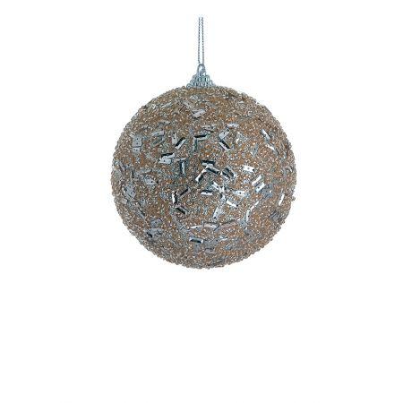 Χριστουγεννιάτικη μπάλα με glitter Σαμπανί 8cm