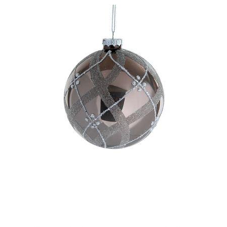 Χριστουγεννιάτικη μπάλα γυάλινη Καφέ - Ασημί 8cm