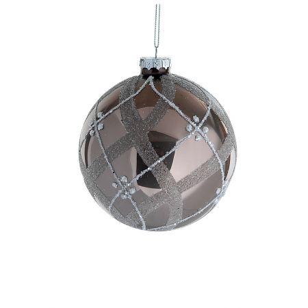 Χριστουγεννιάτικη μπάλα γυάλινη Καφέ-Ασημί 10cm