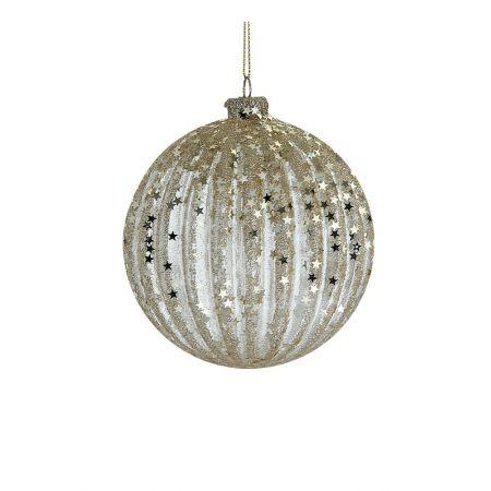 Χριστουγεννιάτικη μπάλα γυάλινη με αστεράκια Χρυσή 10cm