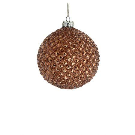 Χριστουγεννιάτικη μπάλα γυάλινη Χάλκινη 8cm