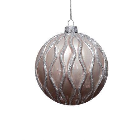 Χριστουγεννιάτικη μπάλα γυάλινη Μπεζ 10cm