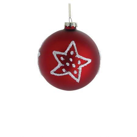 Χριστουγεννιάτικη μπάλα γυάλινη με αστέρια Κόκκινη 8cm