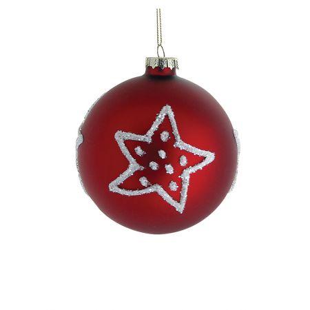 Χριστουγεννιάτικη μπάλα γυάλινη με αστέρια Κόκκινη 10cm