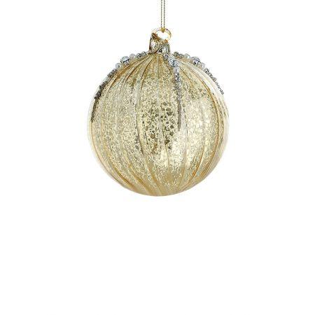 Χριστουγεννιάτικη μπάλα γυάλινη Χρυσή 10cm