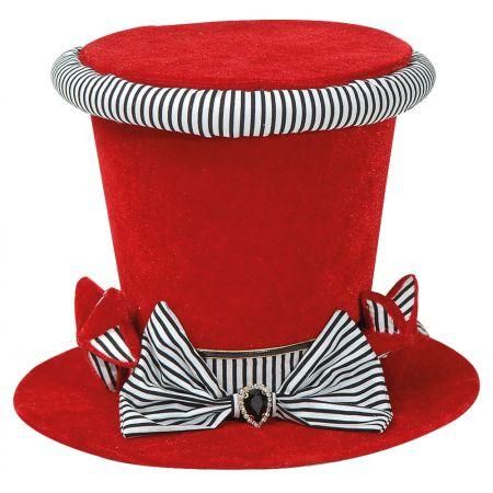 Διακοσμητικό καπέλο βελούδινο Κόκκινο (μεσαίο) 18x25cm