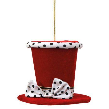 Χριστουγεννιάτικο στολίδι καπέλο βελούδινο Κόκκινο (μικρό) 11x15cm