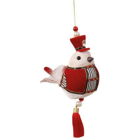 Χριστουγεννιάτικο στολίδι πουλάκι βελούδινο Κόκκινο 15x8x13cm