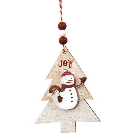 Ξύλινο κρεμαστό στολίδι δεντράκι με χιονάνθρωπο 9x12cm