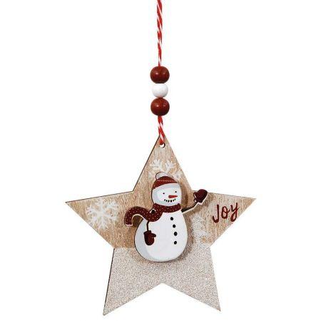 Ξύλινο κρεμαστό στολίδι αστέρι με χιονάνθρωπο 12cm