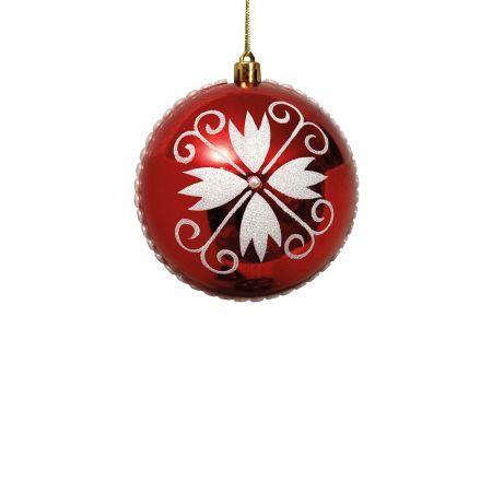Χριστουγεννιάτικη μπάλα πλαστική Κόκκινη 8cm