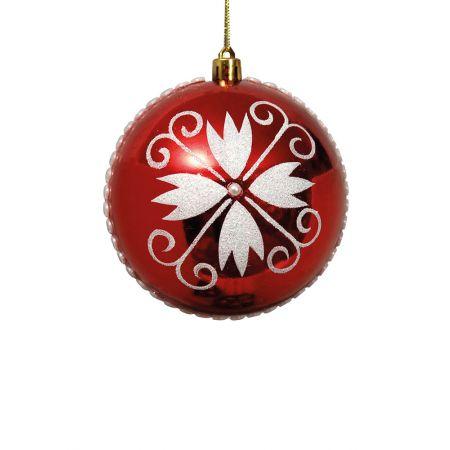 Χριστουγεννιάτικη μπάλα πλαστική με νιφάδα Κόκκινη 10cm