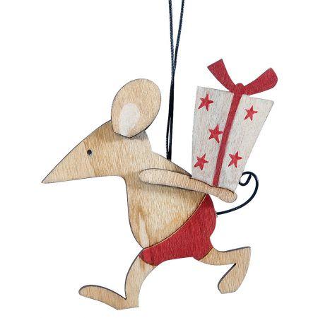 Ξύλινο χριστουγεννιάτικο στολίδι ποντικάκι Κόκκινο 9x10cm