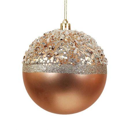 Χριστουγεννιάτικη μπάλα με glitter Χρυσή 8cm