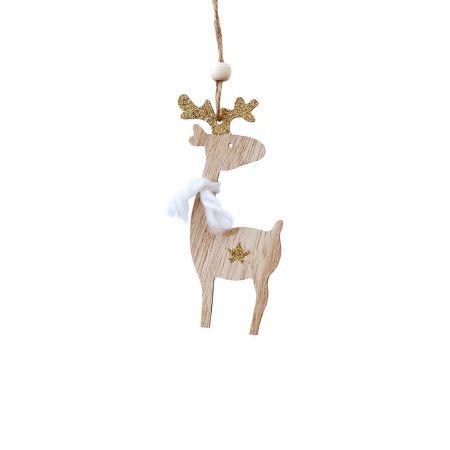 Ξύλινο χριστουγεννιάτικο στολίδι ταρανδάκι Χρυσό (μικρό) 5x12cm