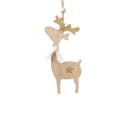 Ξύλινο χριστουγεννιάτικο στολίδι ταρανδάκι Χρυσό (μεγάλο) 7x15cm