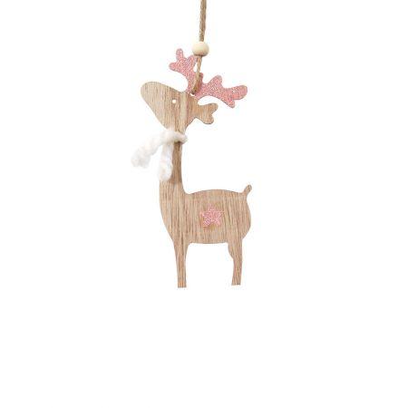 Ξύλινο χριστουγεννιάτικο στολίδι ταρανδάκι Ροζ (μεγάλο) 7x15cm