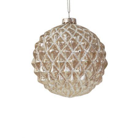 Χριστουγεννιάτικη μπάλα γυάλινη ανάγλυφη Λευκή 10cm