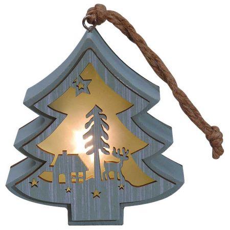 Φωτιζόμενο ξύλινο δεντράκι με Χριστουγεννιάτικη παράσταση Πράσινο 11x12cm