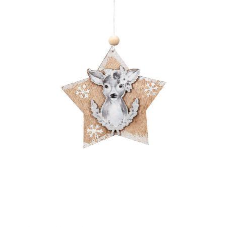 Ξύλινο κρεμαστό στολίδι αστέρι με ταρανδάκι 11cm