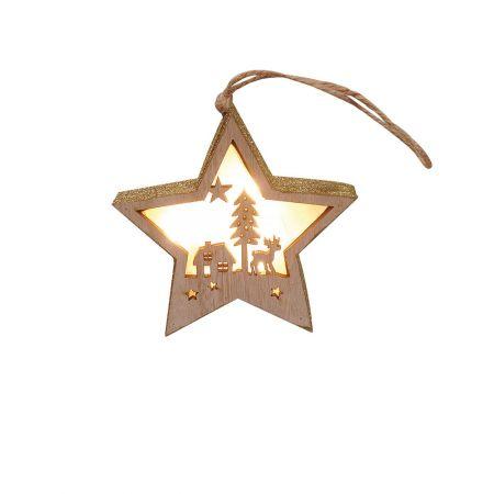 Φωτιζόμενο ξύλινο αστέρι με Χριστουγεννιάτικη παράσταση Χρυσό 12x12cm