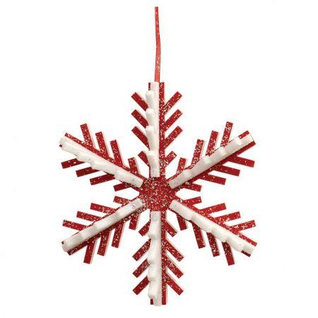 Κρεμαστή χιονονιφάδα κόκκινο - λευκό, 30cm