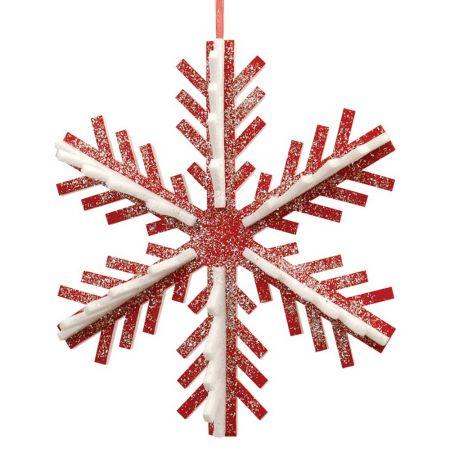 Κρεμαστή χιονονιφάδα κόκκινο - λευκό, 50cm