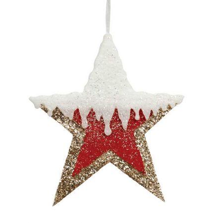 Κρεμαστό αστέρι με glitter κόκκινο - χρυσό - λευκό, 30cm