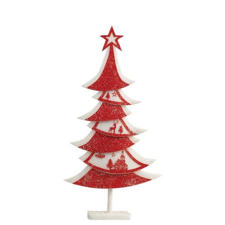 Διακοσμητικό δέντρο απο Φελιζόλ κόκκινο/λευκό, 45x10x90cm