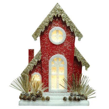 Διακοσμητικό ξύλινο σπιτάκι με LED Φωτισμό και glitter 64x12x95cm