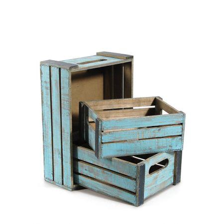 Σετ 3τμχ. Διακοσμητικά Καφάσια Ξύλινα Γαλάζια 40x28x14cm