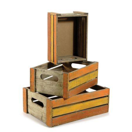 Σετ 3τμχ. Διακοσμητικά Καφάσια Ξύλινα Κίτρινο-Πορτοκαλί 40x28x14cm