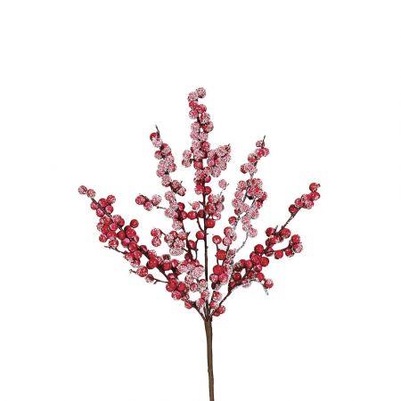 Χριστουγεννιάτικο κλαδί Berries - Γκι Φούξια χιονισμένο 42x20cm