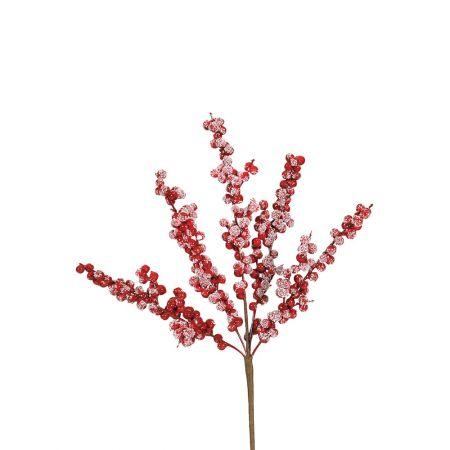 Χριστουγεννιάτικο κλαδί Berries - Γκι Κόκκινο  χιονισμένο 42x20cm