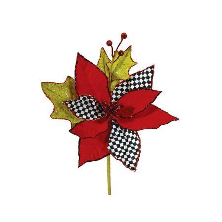 Λουλούδι Χριστουγέννων, τσίρκο Κόκκινο καρό 25cm
