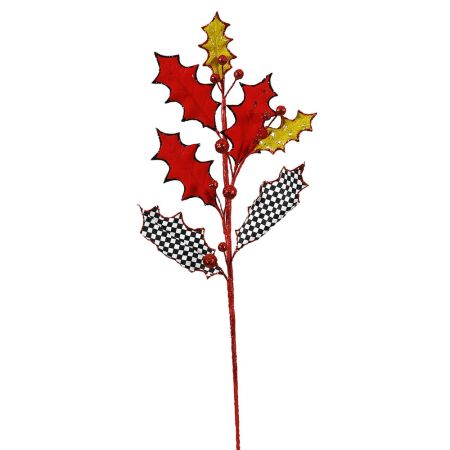 Χριστουγεννιάτικο κλαδί τσίρκο - Γκι Κόκκινο καρό 60x20cm