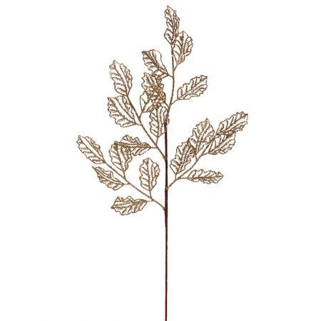 Χριστουγεννιάτικο κλαδί - φύλλα με glitter Χρυσό 66x29cm