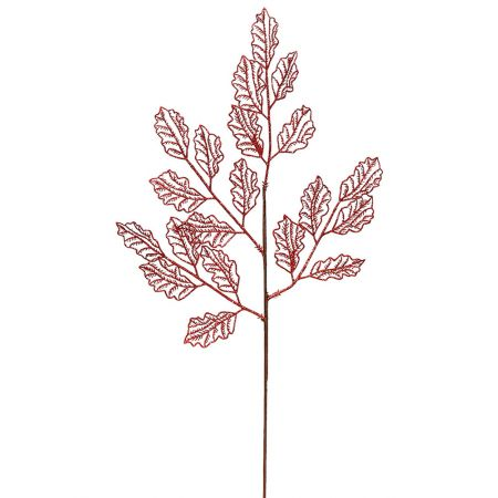 Χριστουγεννιάτικο κλαδί - φύλλα με glitter Κόκκινο 66x29cm