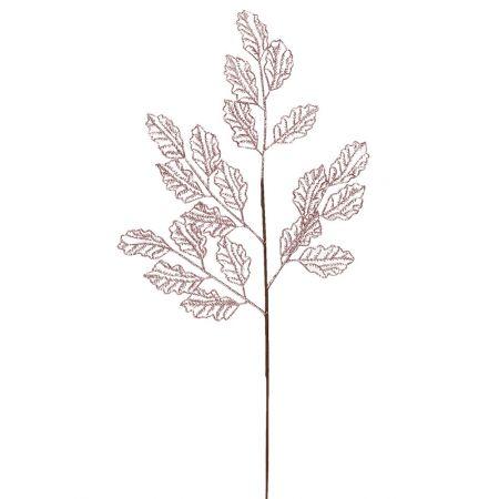 Χριστουγεννιάτικο κλαδί - φύλλα με glitter Ροζ 66x29cm