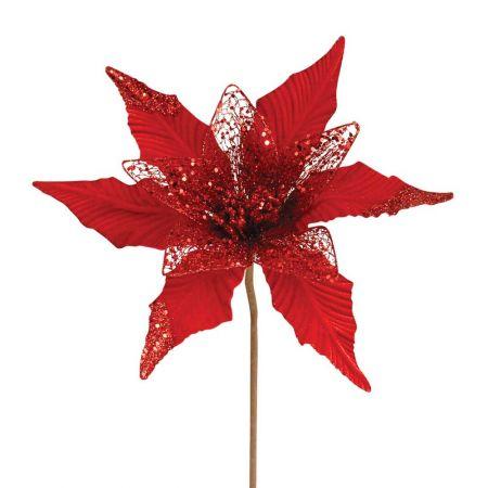 Χριστουγεννιάτικο αλεξανδρινό κόκκινο με glitter 34cm
