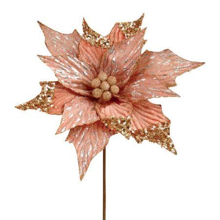 Χριστουγεννιάτικο αλεξανδρινό ροζ - χρυσό με glitter 29cm