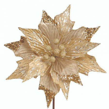 Χριστουγεννιάτικο αλεξανδρινό σαμπανί - χρυσό με glitter 29cm