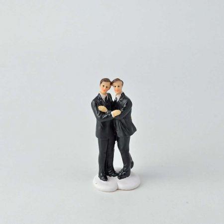 Γαμπριάτικο ζευγάρι γαμπρός - γαμπρός - κορυφή για γαμήλια τούρτα, 11cm