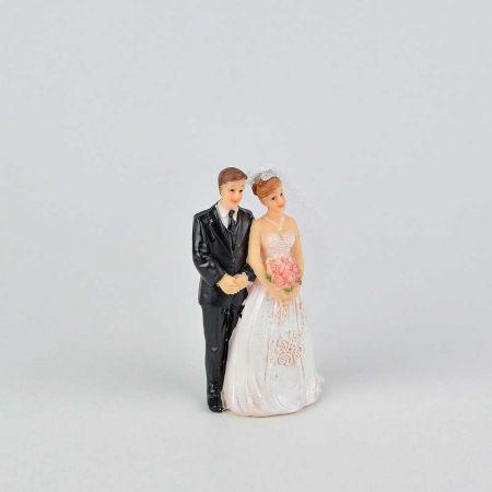 Νυφικό ζευγάρι γαμπρός - νύφη - κορυφή για γαμήλια τούρτα, 6x4x11cm