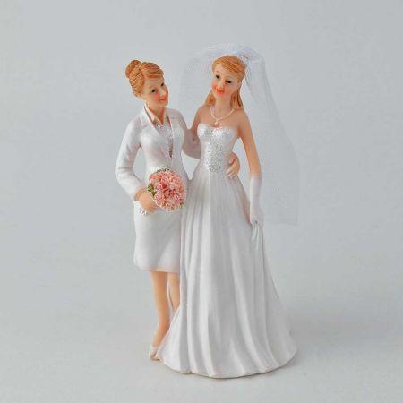 Νυφικό ζευγάρι νύφη - νύφη - κορυφή για γαμήλια τούρτα, 17cm